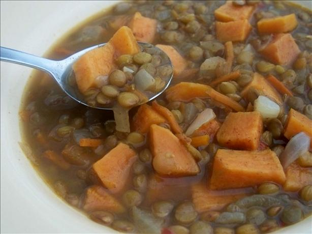 Savory Golden Lentil and Sweet Potato Soup