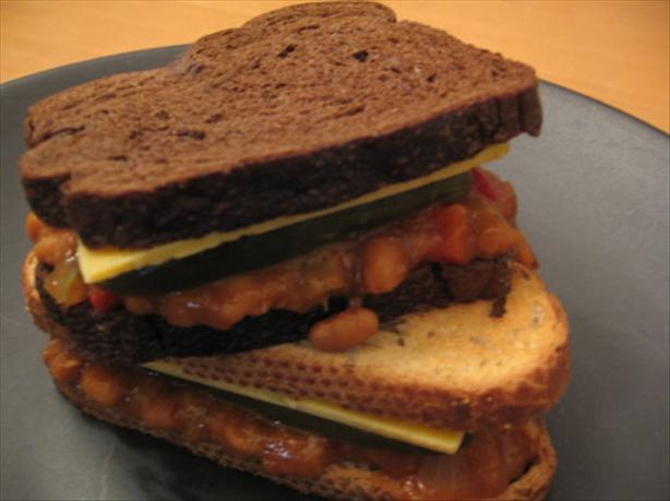 Baked Beans, Cheddar and Pickle Sandwich