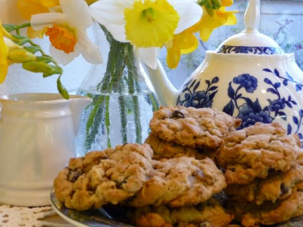 Irish Oatmeal Cookies With Raisins and Walnuts