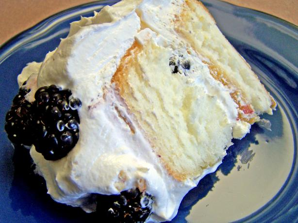 Easy Blackberry, Lime Filled Angel Food Cake