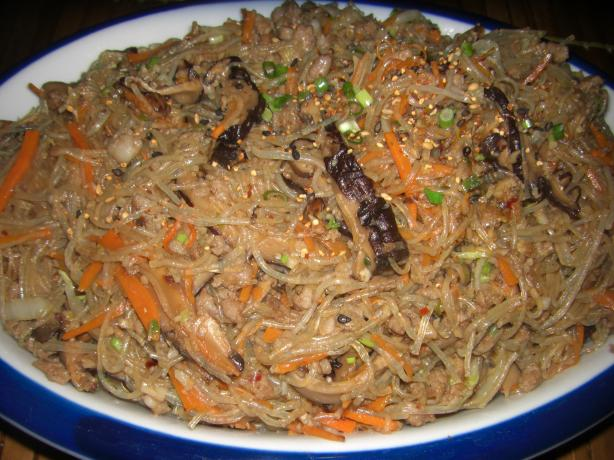 Chapchae (Noodles With Beef and Mixed Vegetables)