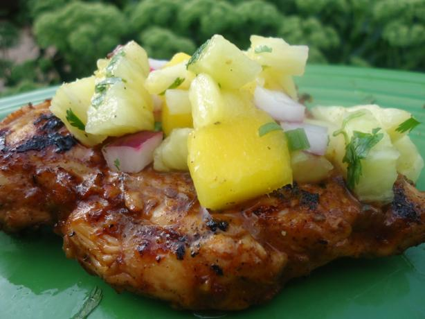 Taxi Stand Jerk Chicken With Pineapple Mango Salsa
