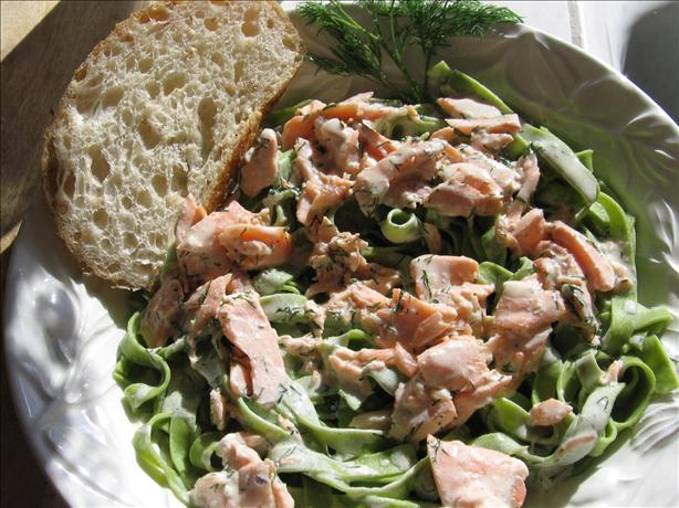 Spinach Pasta with Salmon and Cream Sauce