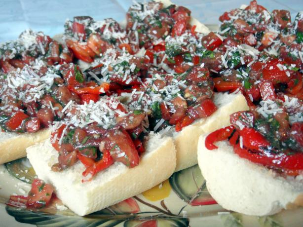 Bruschetta With Roasted Red Peppers Yummy!