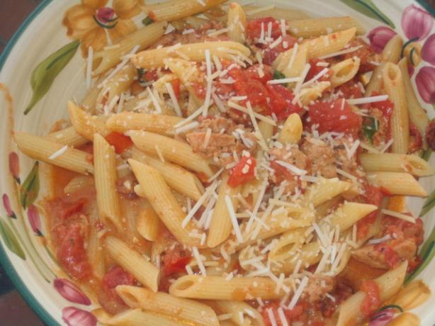 Pink Sauce With Sausage and Pine Nuts over Penne
