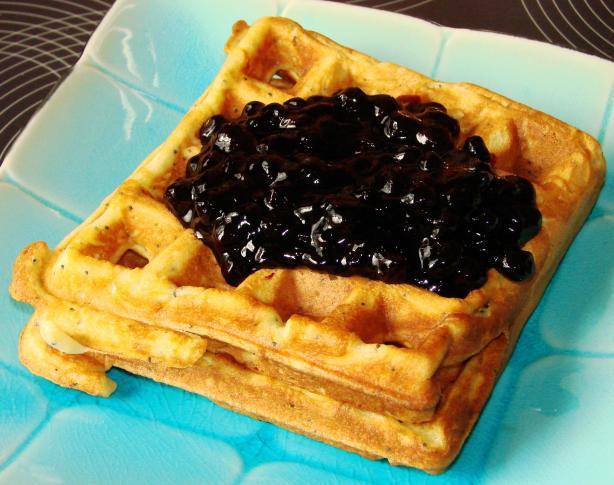 Lemon-Poppy Seed Waffles with Blueberry Sauce