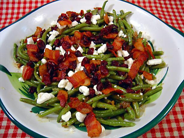 haricots verts with goat cheese and warm dressing