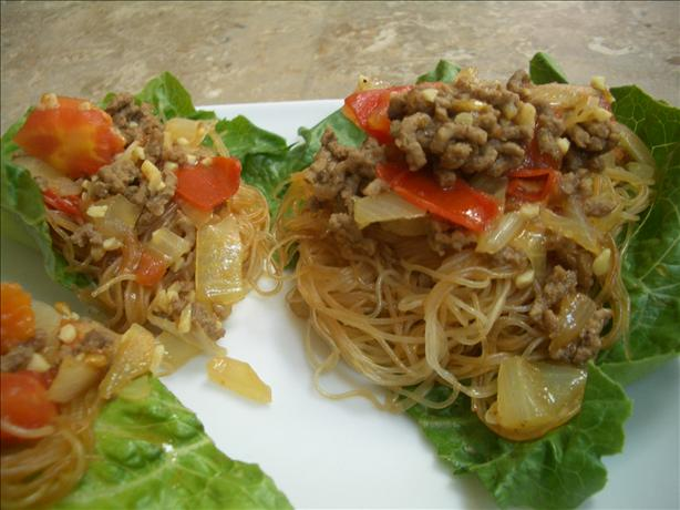 Thai Noodles With Curried Ground Beef Sauce