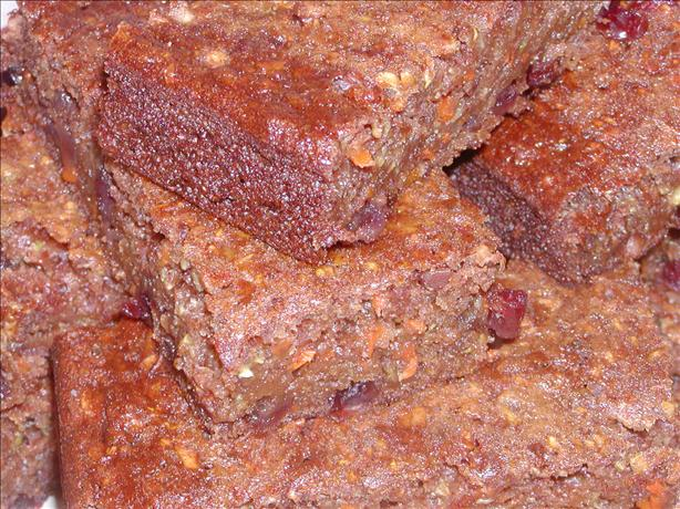 Extremely Healthy Fiber Packed Zucchini Carrot Cranberry Bars
