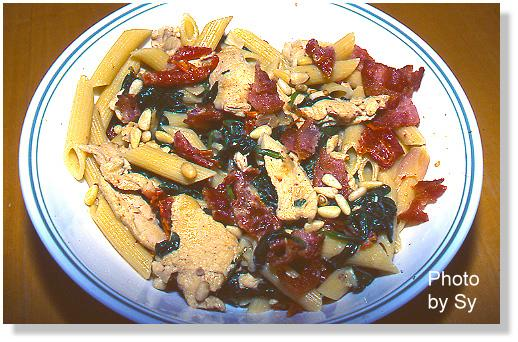 Pasta With Chicken, Spinach, Pine Nuts, Bacon And