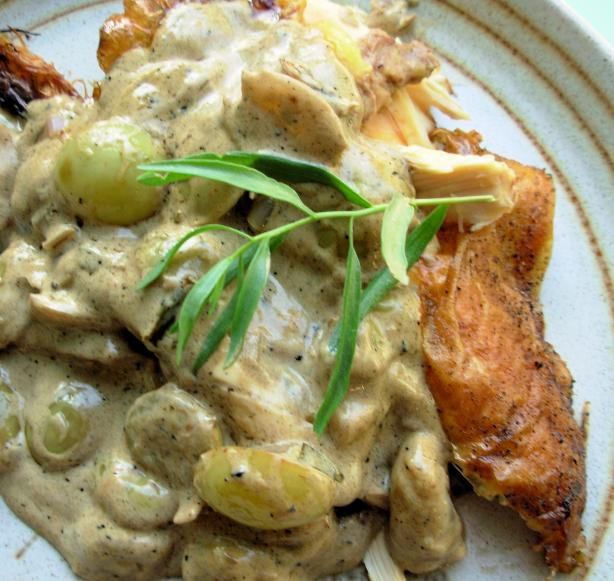 Crispy Roast Chicken With Riesling, Grapes and Tarragon