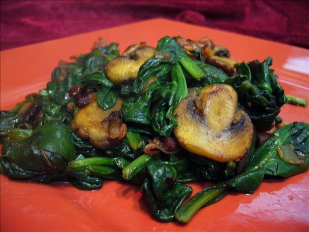 Sauteed Spinach, Mushrooms and Pancetta