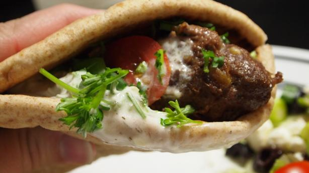 Lamb or Beef Kebab Pitas With Tzatziki