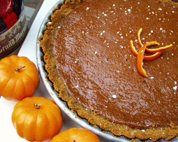 Pumpkin-Grand Marnier Tart With Gingersnap Crust