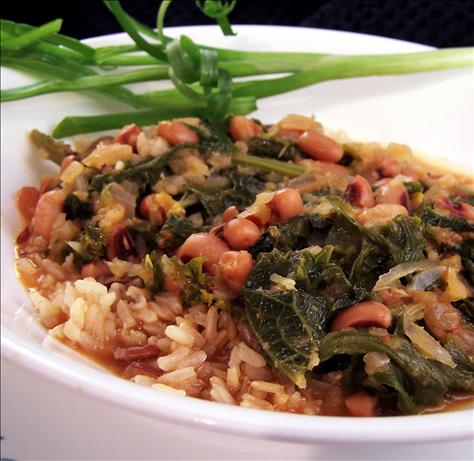 Black-Eyed Peas With Mustard Greens and Rice