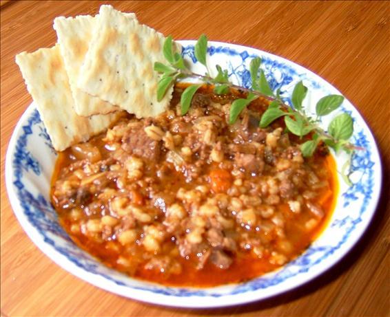 Beef, Barley and Dried Mushroom Soup