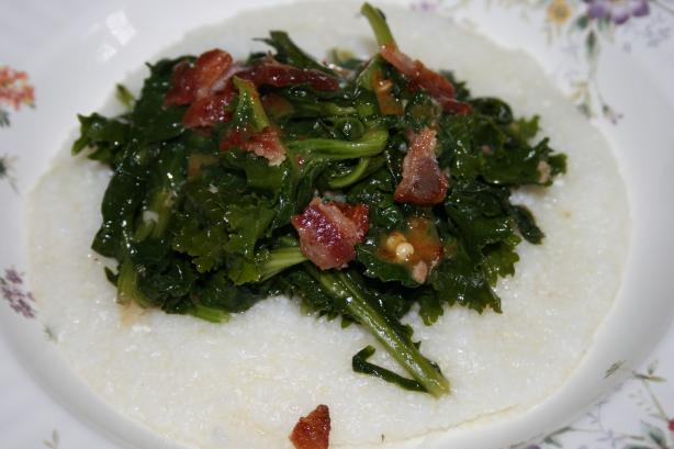 Bacon Cider Sautéed Collard Greens/Honey Mustard Drizzle