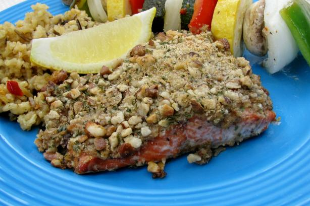 Baklava Salmon (Salmon With Honey, Butter, Walnuts, and Mustard)