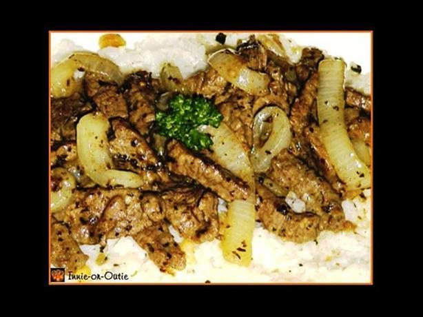 Sautéed Steak Strips on Walnut-Basil Rice