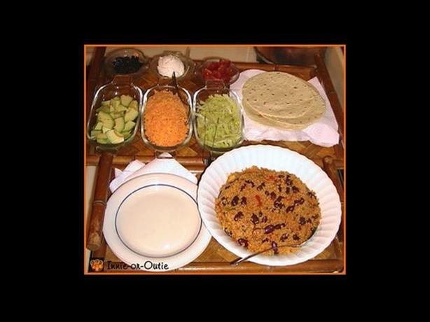 Cousparito or Leftover Skillet Couscous Paella Burrito Platter