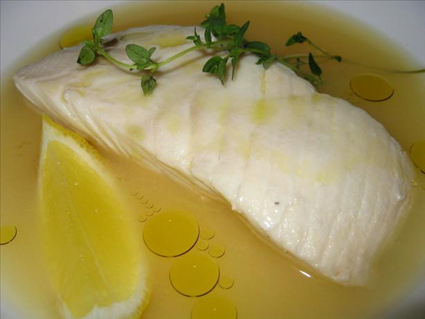Poached Halibut in Lemon Thyme Brothe