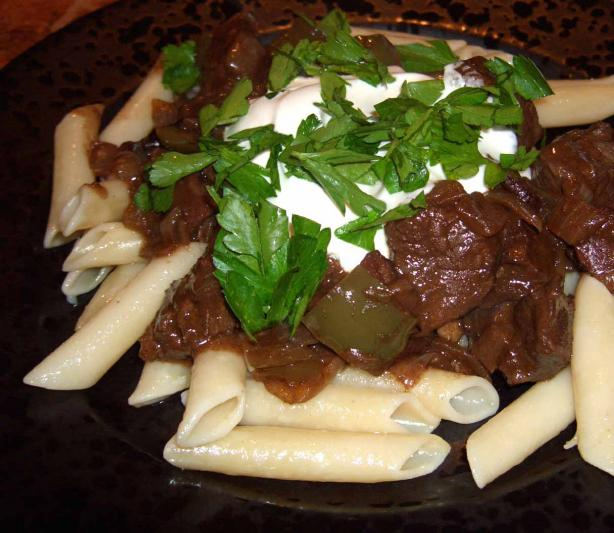 Goulash With Green Peppers and Noodles