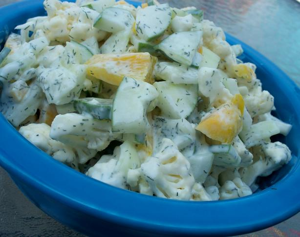 Cauliflower and Cucumber Salad With Sour Cream