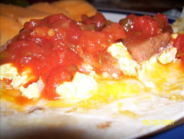 Bean, Egg and Ham Breakfast Tostada
