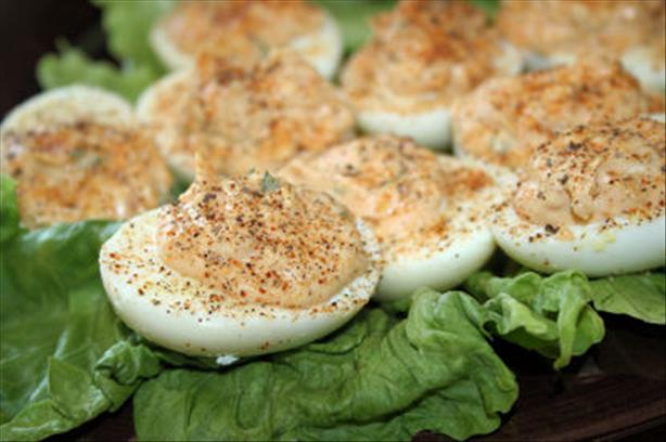 Bacon and Tomato Deviled Eggs