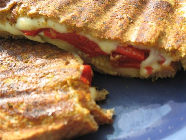 Pesto-Crusted Grilled Cheese