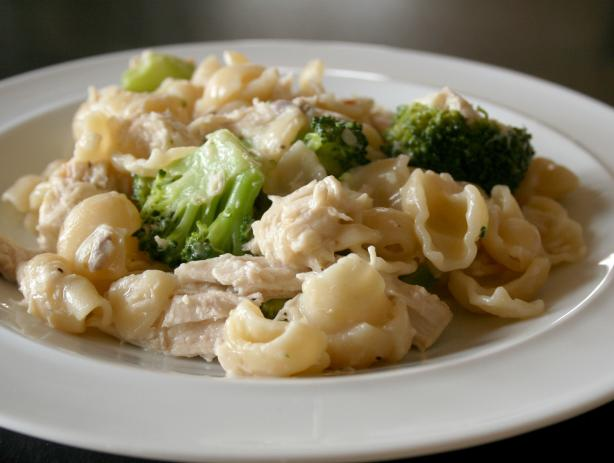 Skillet Chicken, Broccoli, Ziti, and Asiago Cheese