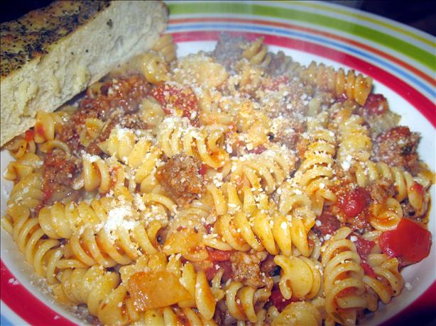 Fusilli Pasta With Ground Sausage Bolognese Sauce