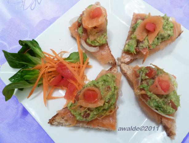 Guacamole-Smoked Salmon Bruschetta