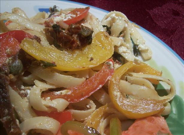 Fettuccine With Goat Cheese and Peppers