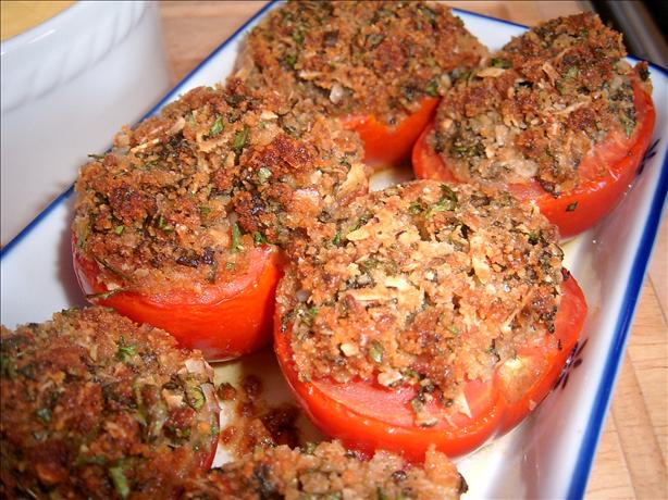 Becky's Baked Tomatoes With Basil and Parmesan