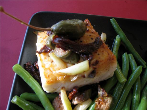 Seared Halibut W/ Haricots Vert, Scallions and White Wine Sauce