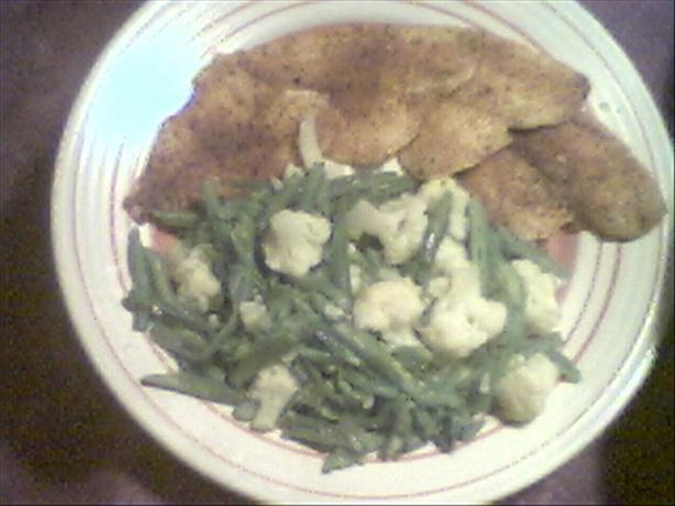 Cajun Sole With Green Beans & Cauliflower