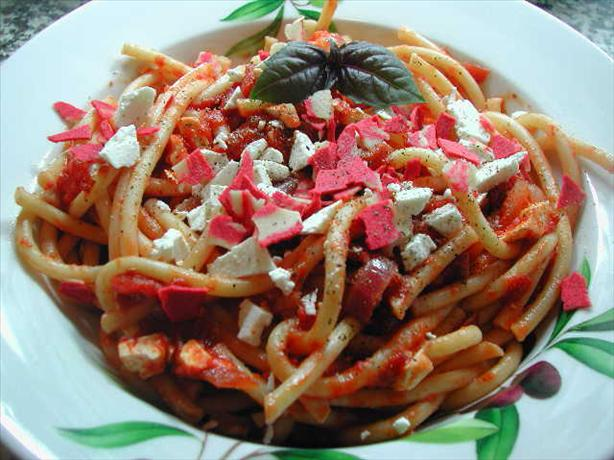 Bucatini Amatriciana With Ricotta Salata