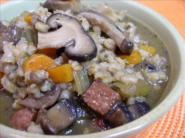 Mushroom Barley Kielbasa Soup