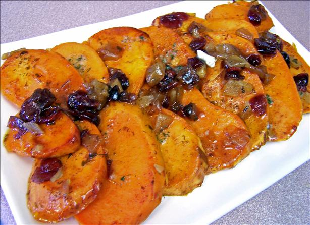 Candied Ginger Sweet Potatoes With Dried Cranberries