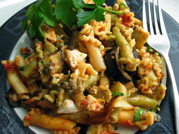 Rigatoni With Eggplant and Dried Tomato Pesto