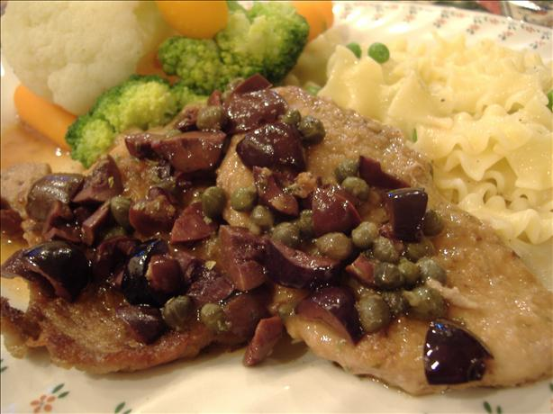 Pork Medallions With Olive and Caper Sauce