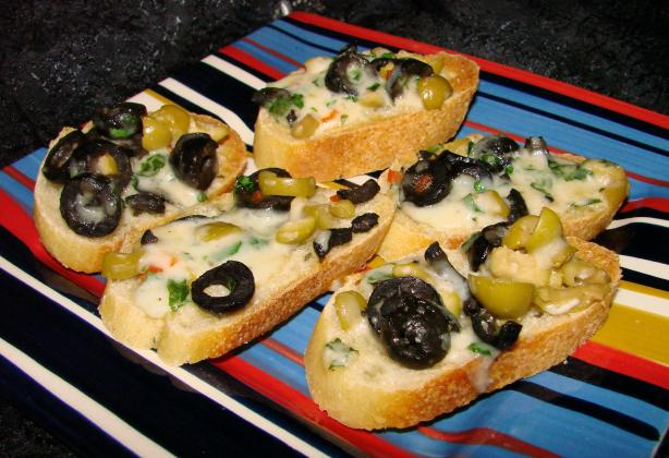 Olive-Cheese Crostini