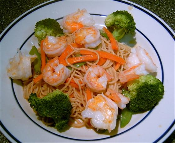 Orange-Sesame Noodles With Grilled Shrimp