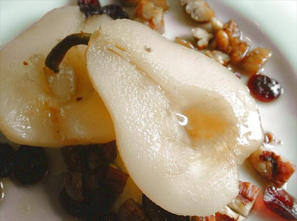 Pears With Maple Syrup, Pecans and Cranberries - Microwave