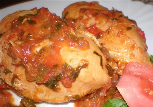 Braised Chicken With Green Peppers and Tomatoes