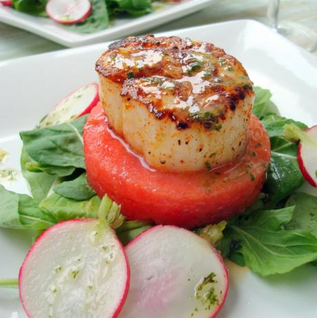 Seared Scallop Watermelon Salad W/ Sparkling Mint Vinaigrette