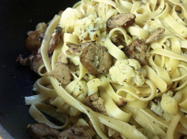 Sausage-Cauliflower Spaghetti