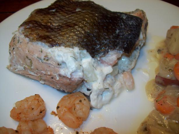 Salmon Fillet With Shrimp and Crab Stuffing