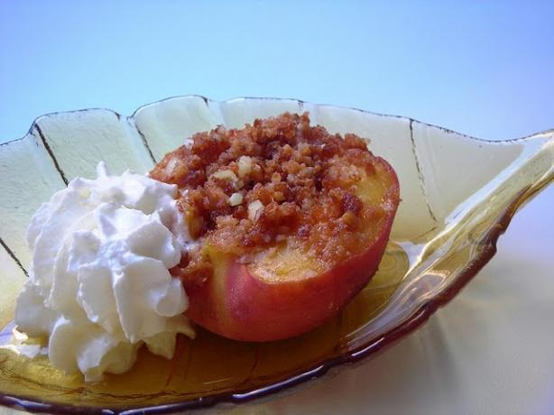 Pressure Cooker Tipsy Amaretti Stuffed Peaches